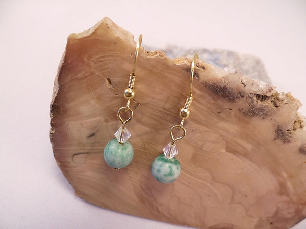 China Jade and Swarovski Crystal Earrings
