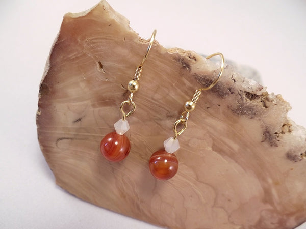 Red Banded Agate and Swarovski Crystal Earrings
