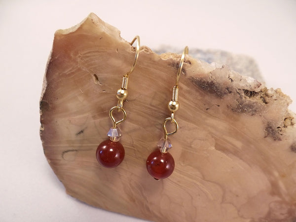 Carnelian and Swarovski Crystal Earrings