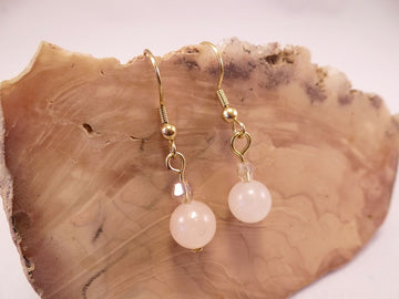 Rose Quartz and Swarovski Crystal Earrings