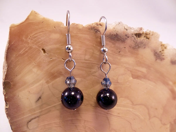 Blue Goldstone and Swarovski Crystal Earrings