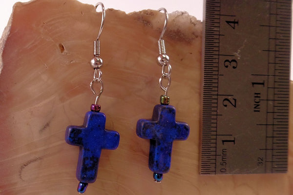 Blue Howlite Cross Earrings