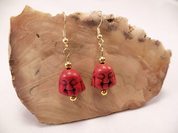 Red Howlite Buddha Earrings
