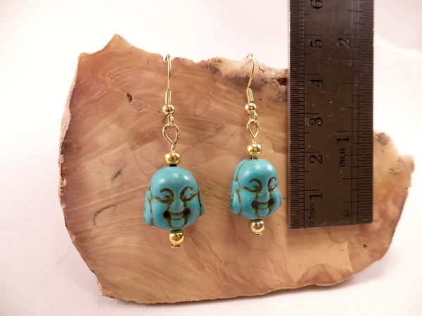 Turquoise Howlite Buddha Earrings