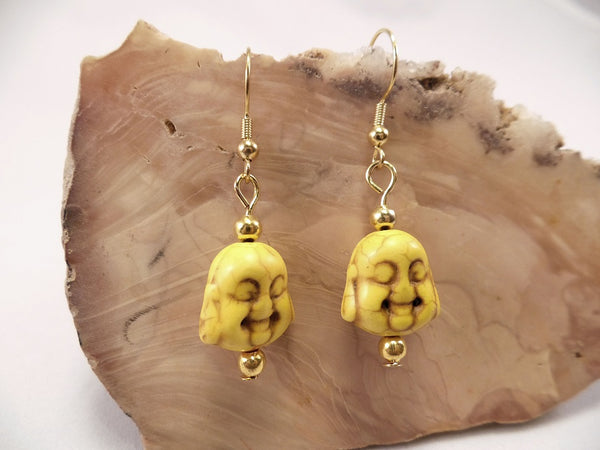 Yellow Howlite Buddha Earrings