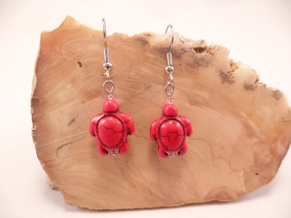 Red Howlite Turtle Earrings