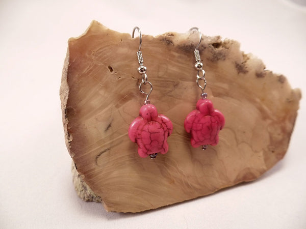 Hot Pink Howlite Turtle Earrings