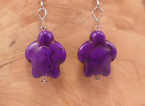 Purple Howlite Turtle Earrings
