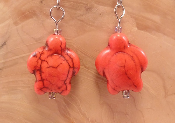 Orange Howlite Turtle Earrings
