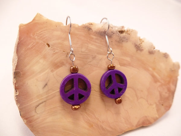 Purple Peace Sign Earrings