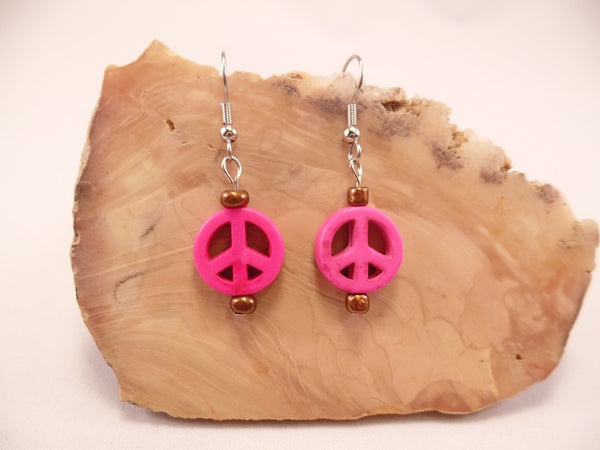 Hot Pink Howlite Peace Sign Earrings