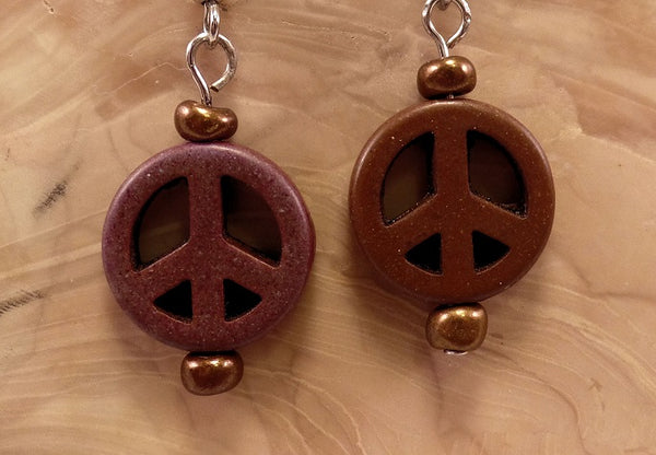 Brown Howlite Peace Sign Earrings