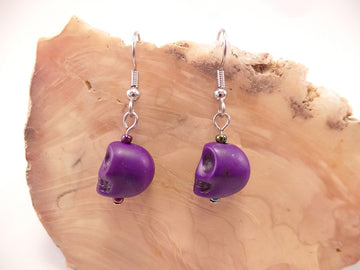 Purple Howlite Skull Earrings