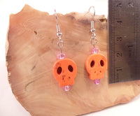 Orange Flat Skull Earrings