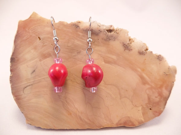Red Howlite Skull Earrings