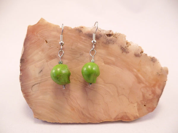 Lime Green Howlite Skull Earrings