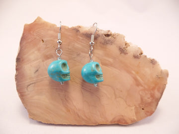 Turquoise Howlite Skull Earrings
