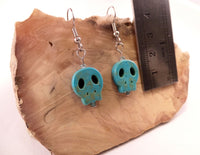 Turquoise Flat Skull Earrings
