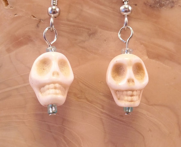 White Howlite Skull Earrings