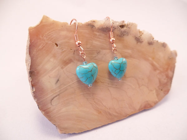 Turquoise Magnesite Heart Earrings