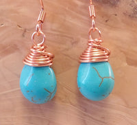 Turquoise Magnesite Wire-wrapped Teardrop Earrings