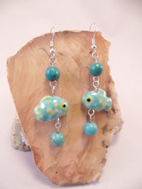 Green and Blue Ceramic Fish Earrings