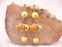 Yellow and Blue Ceramic Fish Earrings