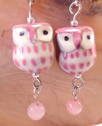 Pink Ceramic Owl Post Earrings
