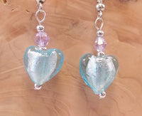 Light Blue Foil Glass Heart and Swarovski Crystal Earrings