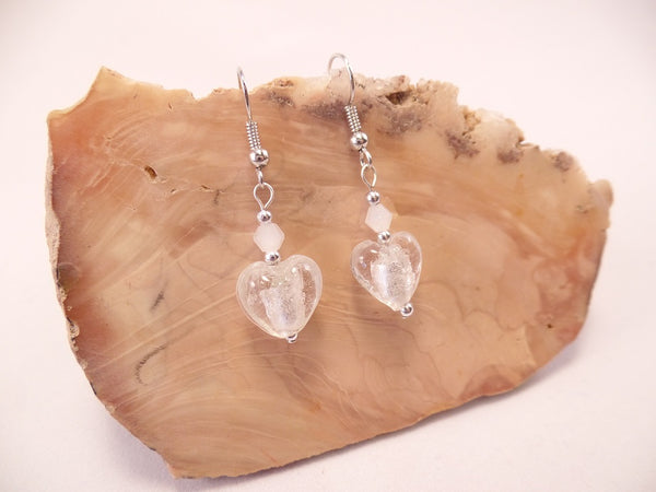 White Foil Glass Heart and Swarovski Crystal Earrings