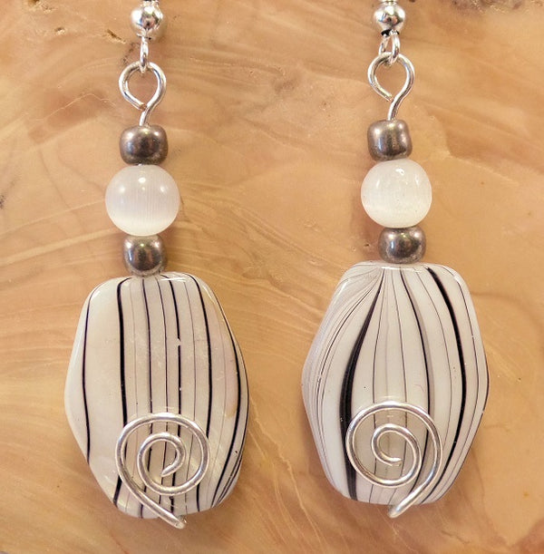 White Hexagon Mother of Pearl Shell finish Bead Earrings with Spiral Wire Detail