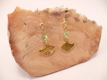 Brass and Swarovski Crystal Bird Earrings
