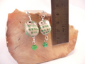 Medium Green Ceramic Owl Post Earrings