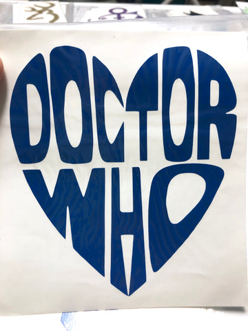 Doctor Who heart Vinyl Decal