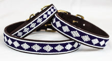 Load image into Gallery viewer, Beautiful leather collar with unique designs. Hand made fasion for dogs. Brown leather collar with blue and white accents, collars available in sizes dor all dog types