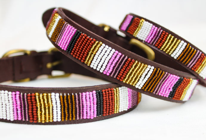 Unique leather dog collar with colorful beads. Hand made in Kenia