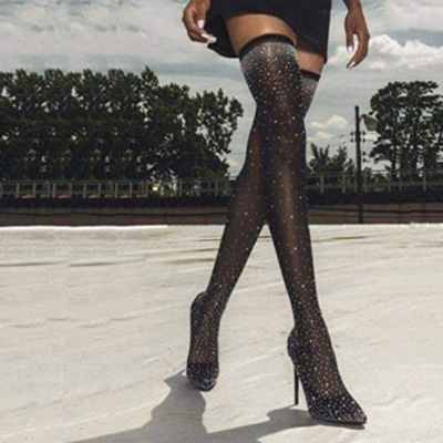 Crystal Stretch Sock Pointy Toe Over The Knee Heel Thigh High Boots