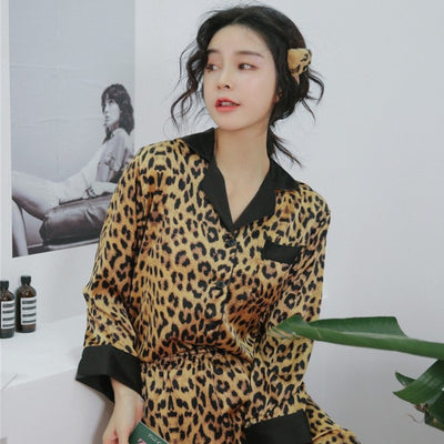 Sexy Silk Satin Leopard Long Sleeve Pajamas Pant Set Lounge Bottoms