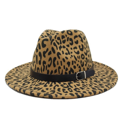 Unisex Leopard Flat Brim Wool Fedora Panama Hat And Leather Band Decor