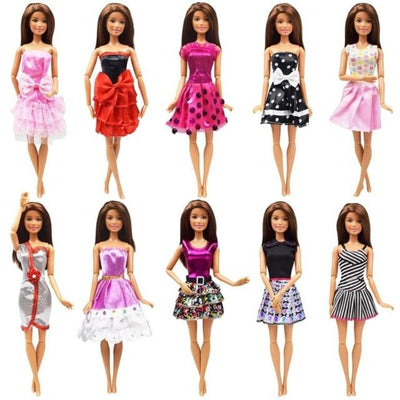 10 Sets/Lot Fashion Design Cute Doll Dress Outfit For Barbie Doll