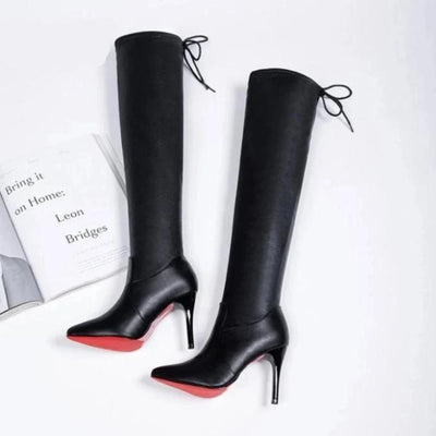 Stretchy Thin High Heel Pointed Toe Red Bottom Over The Knee Boots