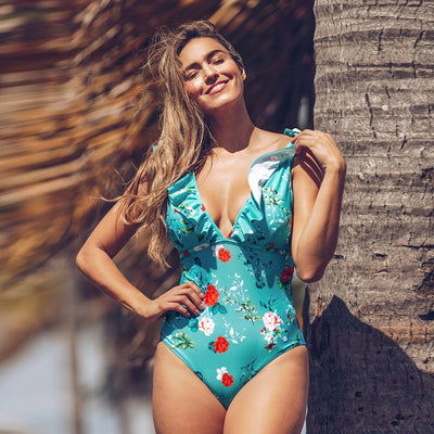 One Piece Teal Floral Ruffled V Neck Padded Cups Monokini Swimsuit