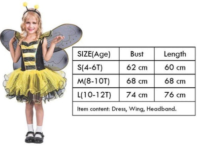 Girl Kid Honeybee Costume Set Fancy Dress Up Costume Yellow