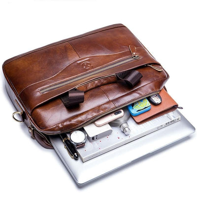Leather Men's Briefcase Vintage Business Messenger Shoulder Bag