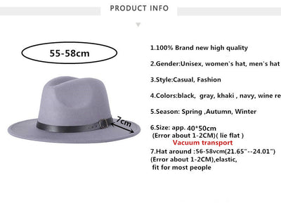 Fashion Vintage Hard Felt Wide Brim Fedora Hat Belt Buckle