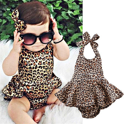 Baby Girl Leopard Bodysuit Clothes Strap Romper Summer Outfit