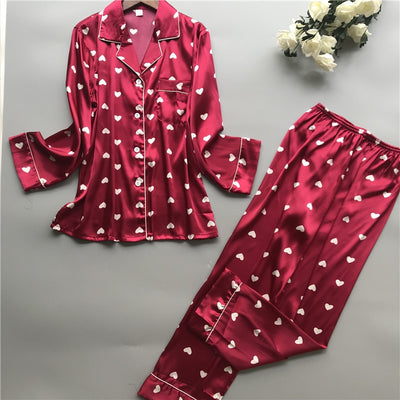 Lady Pajamas Silk Satin Hert Print Dot Long Sleeve Top & Pants