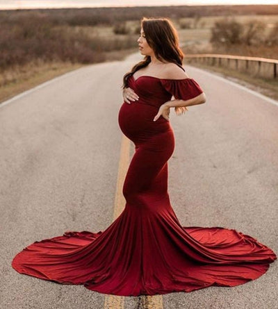 Elegant Fitted Off Shoulder Ruffle Sleeves Maxi Maternity Dress