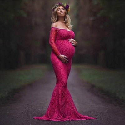 Maternity V Neck Long Sleeve Lace Mermaid Maxi Off Shoulder Gown