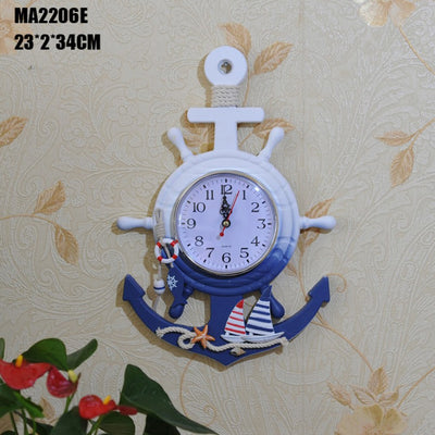 Anchor Clock Beach Sea Theme Wheel Decor Wall Hanging Decoration